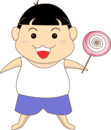A boy with a lollipop