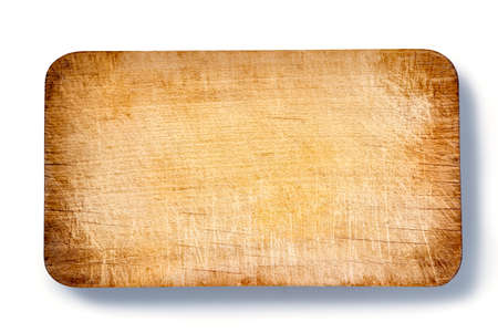 Photo for Top view of used brown wooden cutting board on white background - Royalty Free Image