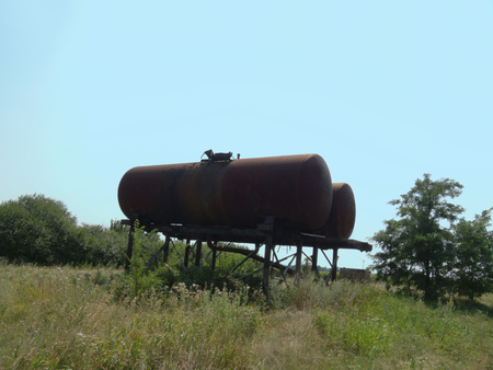 Two huge water tanks in rural areas