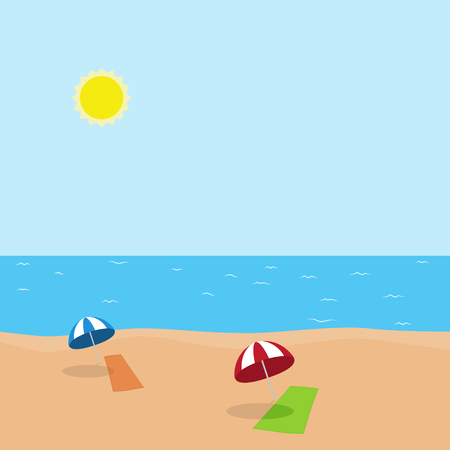 Vector illustration of vacation at sea with green and orange towel and blue and red umbrella on the beach In sunny weather