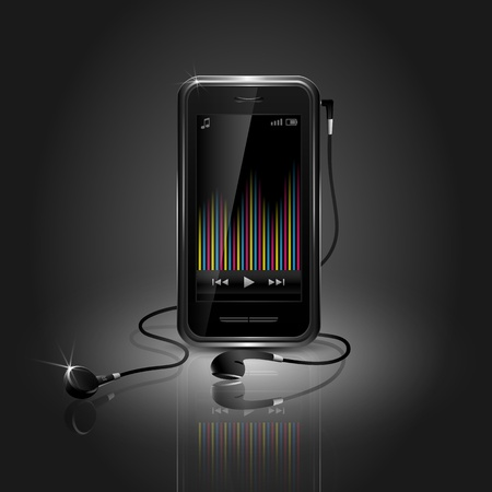Sleek mobile phone playing music with equalizer and headset