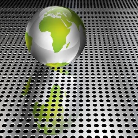 Realistic metallic green globe on chrome grid
