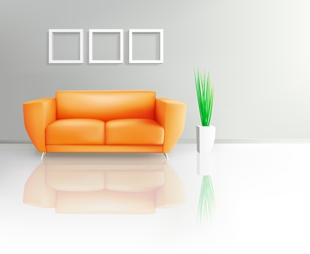 Orange Sofa In Living Space
