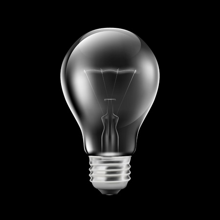 Realistic light bulb isolated on black