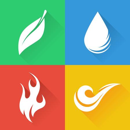 Illustration pour Four Natural Elements  Earth Water Air and Fire - image libre de droit