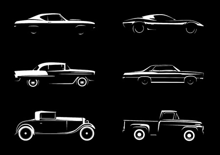 Illustration for Classic Style Vehicle Silhouette Collection - Royalty Free Image