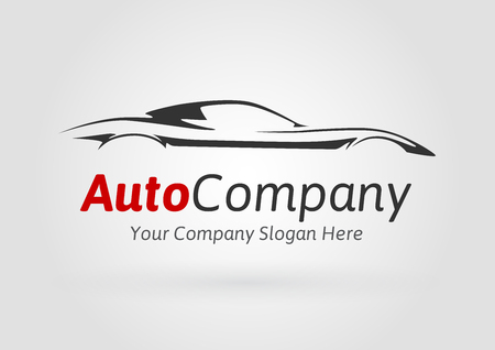 Modern Auto Vehicle Company Logo Design Concept with Sports Car Silhouette. Vector illustration.