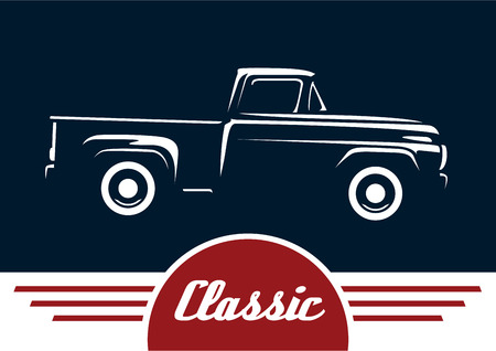 Classic Style Vintage American Pickup Vehicle. Silhouette Design.
