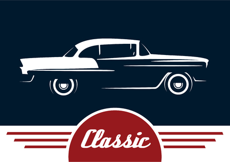 Classic Vehicle - Vintage Car Silhouette Design. Vector illustration.