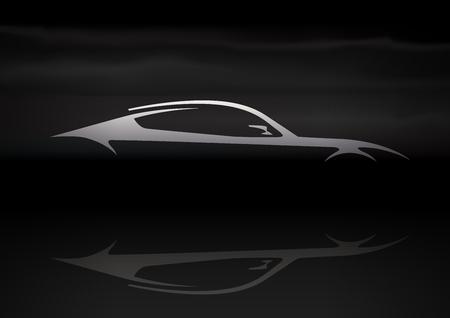 Original Auto Vehicle Vector Design of a Fast Conceptual Super Car Silhouette on Black Background