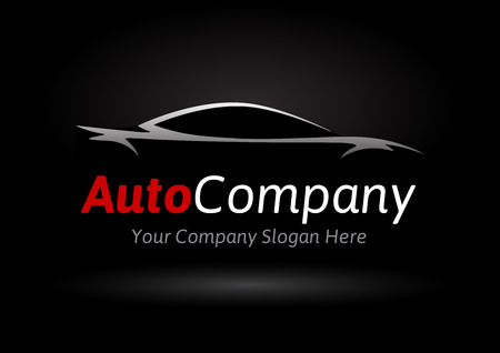 Modern Auto Company Design Concept with Sports Car Silhouette on black background. Vector illustration.