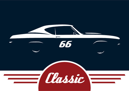 Classic Sports Muscle Vehicle Silhouette Vector Design Royalty Free