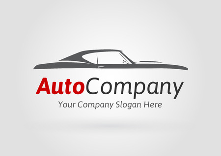 Auto Company Design Concept with classic American style sports Car Silhouette. Vector illustration.