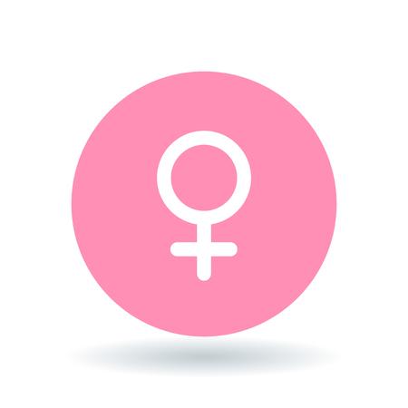 Illustration for Female gender icon. Ladies sign. Women symbol. White female symbol on pink circle background. Vector illustration. - Royalty Free Image