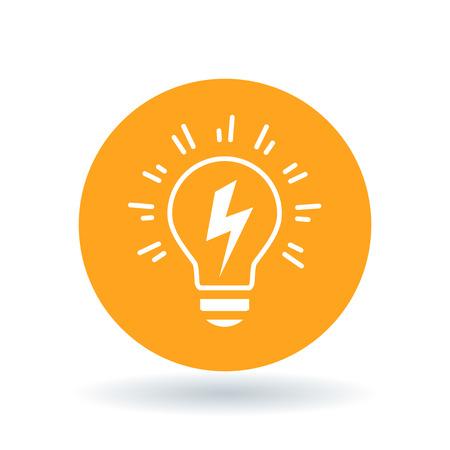 Ilustración de Conceptual lightbulb Idea icon. lightbulb flash sign. lightbulb electricity symbol. White lightbulb bolt flash icon on orange circle background. Vector illustration. - Imagen libre de derechos