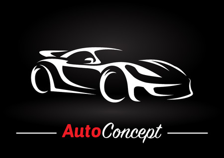 Illustration for Original auto motor concept design of a super sports vehicle car silhouette on black background. Vector illustration. - Royalty Free Image