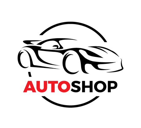 Illustration for Original auto motor concept design of a super sports vehicle car auto shop silhouette on white background. Vector illustration. - Royalty Free Image