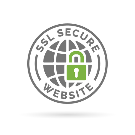 Illustration for Secure SSL website icon. Globe with padlock sign. Secure globe symbol. Grey globe with green padlock emblem on white background. - Royalty Free Image
