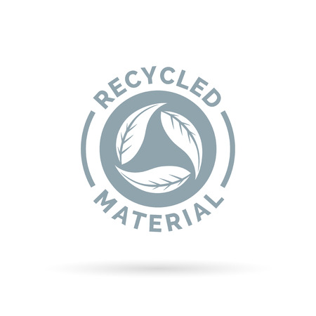 Illustration pour Recycled product material icon. Recycled materials sign with circular leaves symbol. Vector illustration. - image libre de droit
