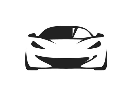 Ilustración de Original concept car with black supercar sports vehicle silhouette on white background. Vector illustration. - Imagen libre de derechos