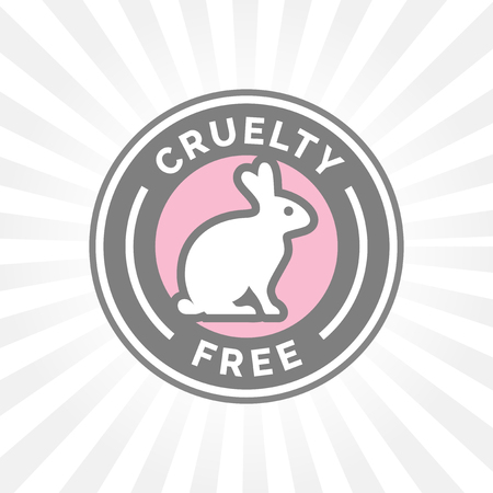 Illustration pour Animal cruelty free icon design with rabbit symbol. Product not tested on animals sign with grey, white and pink rabbit badge. - image libre de droit