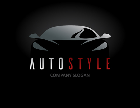 Ilustración de Auto style car icon design with concept sports vehicle symbol silhouette on black background. Vector illustration. - Imagen libre de derechos