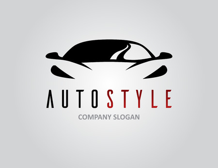 Illustration for Auto style car icon design with concept sports vehicle symbol silhouette on light grey background. Vector illustration. - Royalty Free Image
