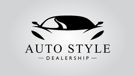 Illustration for Auto style dealership super car icon with concept sports vehicle icon silhouette on light gray background. Vector illustration - Royalty Free Image