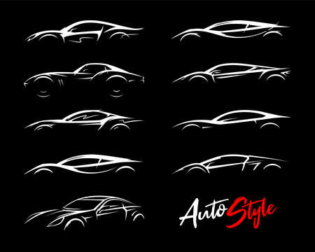 Illustration for Concept sports car silhouettes set. Performance motor vehicle logo icons. Supercars sign. Auto style dealer transport profile vector illustrations. - Royalty Free Image