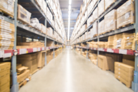 Blurred warehouse or storehouse shopping Home decor in department store. as background