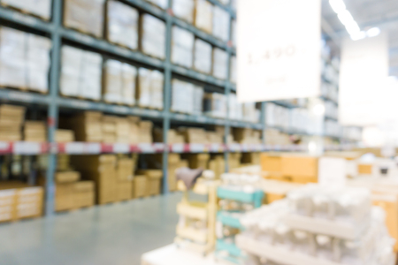 Blurred Shop and browse Warehouse on shelf row, Home business industry