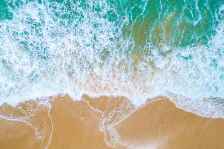 Photo pour Sea wave on sand beach turquoise water nature landscape aerial view - image libre de droit