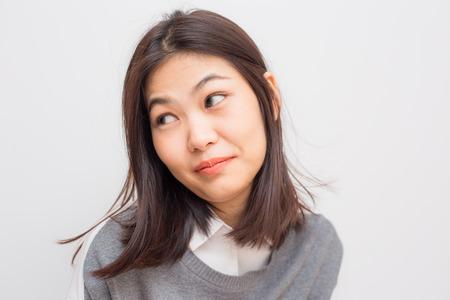 Foto de Portrait of happy young beautiful asian women on white background - Imagen libre de derechos