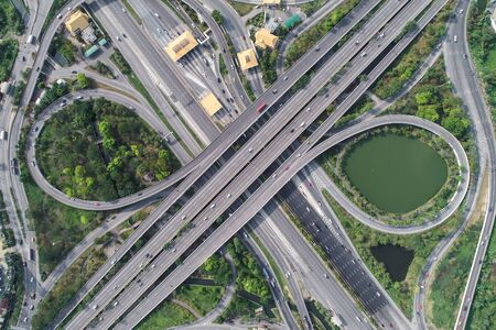 Photo for Aerial view city transport expressway road with tollway, Transport - Royalty Free Image