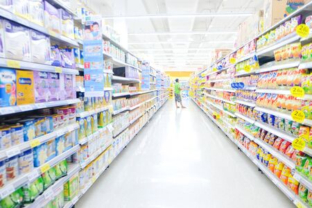 Foto für Bokeh blurred supermarket store with various goods on shelf business bckground - Lizenzfreies Bild