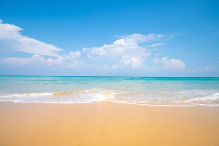 Photo for Sea wave beach sea shore on white sand beach sunny day - Royalty Free Image