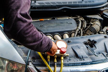 Photo pour Auto monitor pressure gage engine check and fix air of car, Vehicle maintenance - image libre de droit