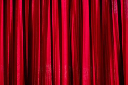 Photo pour Luxury red closed curtain with light spots in a theater, Red curtain - image libre de droit