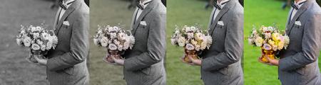 Flowers in hand groom