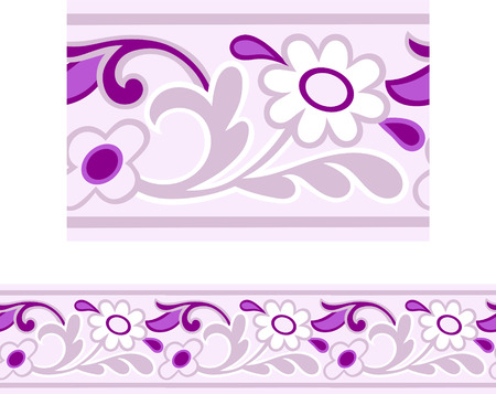 Illustration for Vector of a Pink and Purple Girly repeating Daisy border  - Royalty Free Image