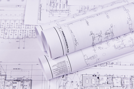 Photo for Engineering background. Construction drawings of buildings and structures for the project engineering work. Close-up. - Royalty Free Image