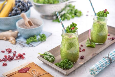 Photo for Fresh and healthy green fruits smoothie - Royalty Free Image