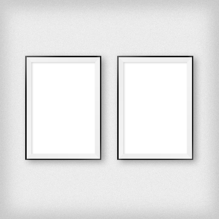 Photo for Gallery interior with two empty frames on wall - Royalty Free Image