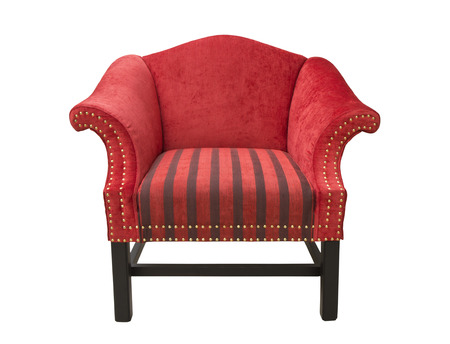 Red Chair with armrests on white