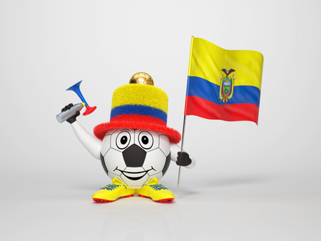 A cute and funny soccer character holding the national flag of Ecuador and a horn dressed in the colors of Ecuador on bright background supporting his team