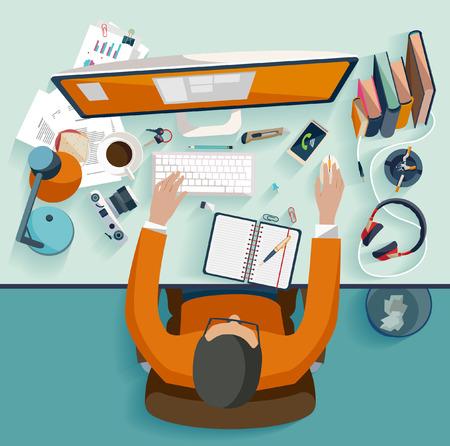 Illustration pour Workplace concept. Flat design. - image libre de droit