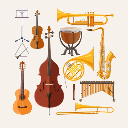 Music instruments. Flat design.