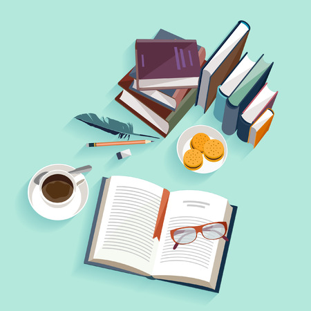 Reading books. Flat design.
