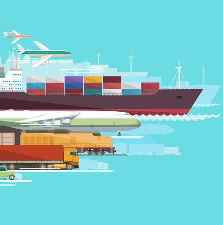 Ilustración de Global transportation. Flat design. - Imagen libre de derechos