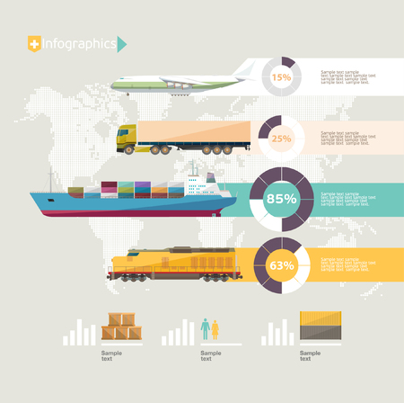 Transportation infographics. Flat design.